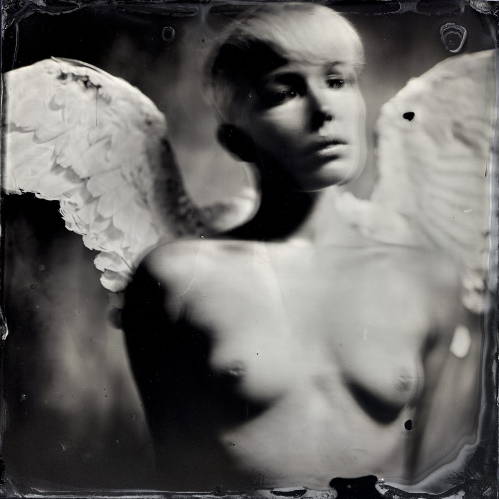 Marie, Angel's series, wet plate, by Silvano Magnone