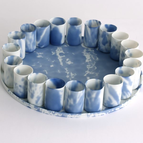 Blue Composition - plateau with 24 cups
